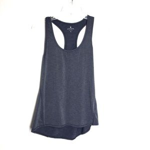 Athleta Striped Chi Black & Gray Tank